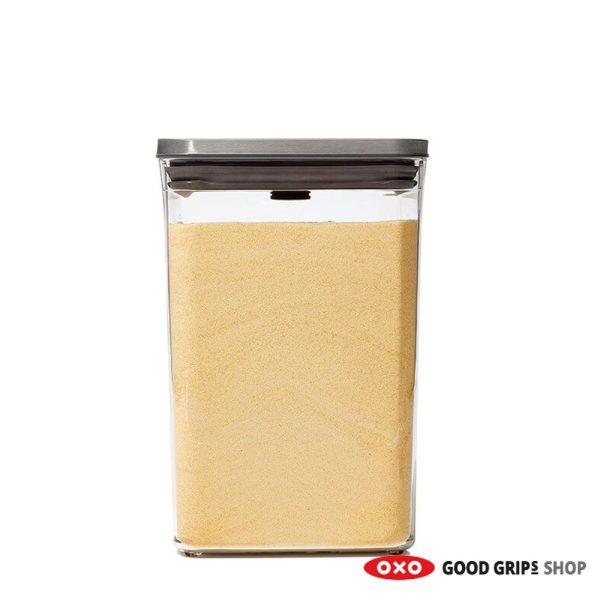 OXO RVS POP Container SteeL Groot Vierkant medium 4,2 Liter