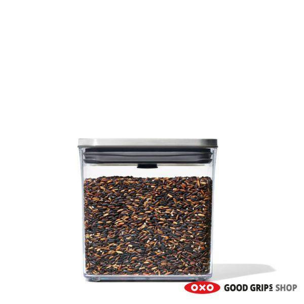 OXO RVS POP Container SteeL Rechthoek Laag 1,6 liter