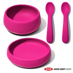 OXO siliconen kinderservies roze